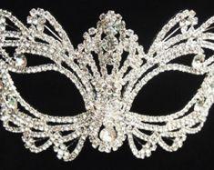 "Best sell - Rhinestone crystal  masquerade mask base-wedding mas -good madk / black mask -Halloween mask -cake topper -table setting 7"" x 3."