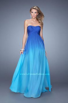 Beautiful ombre chiffon dress with a modified sweetheart neckline and gathered empire waist. The bodice is asymmetrical pleated and the back of the dress has a small diamond opening. Back zipper closure.