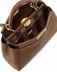 Fendi Peekaboo Pequin-Lined Medium Satchel Bag, Brown - Bergdorf Goodman