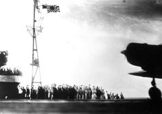 This photograph, from a Japanese film later captured by American forces, is taken aboard the Japanese aircraft carrier Zuikaku, just as a Nakajima B-5N bomber is launching off deck for the second wave of the attack on Pearl Harbor.