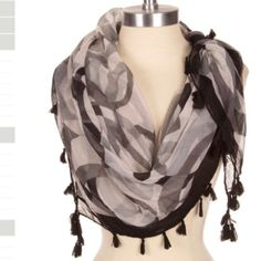 ⭐️⭐️coming in next week⭐️⭐️tassel scarf Black geo print scarf with tassel details. 100% polyester Brittany Lynn Collections  Accessories Scarves & Wraps