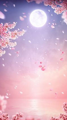 Sketches and Pictures Cherry tree aesthetic anime 35 ideas There Wallpaper Pastel, Anime Scenery Wallpaper, Aesthetic Pastel Wallpaper, Kawaii Wallpaper, Cute Wallpaper Backgrounds, Pretty Wallpapers, Aesthetic Wallpapers, Pink Wallpaper Hd 1080p, Pink Moon Wallpaper