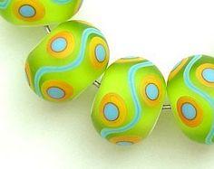 Lime Turquoise Orange Artisan Handmade Lampwork Beads SRA