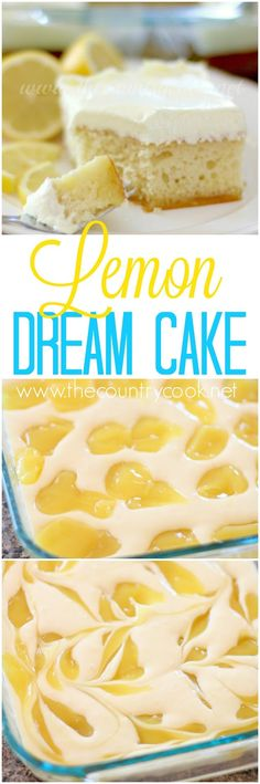 Lemon Dream Cake starts with a boxed cake mix swirled with lemon pie filling. All topped with a creamy, lemony whipped topping! Easy and . Köstliche Desserts, Delicious Desserts, Dessert Recipes, Yummy Food, Easy Lemon Desserts, Lemon Recipes, Sweet Recipes, Baking Recipes, Cupcakes