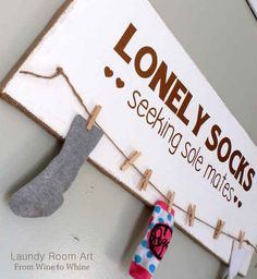 You can also hang up a little lost-sock clothes line.