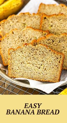 This Easy Banana Bread Recipe makes a moist loaf with TONS of banana flavor! You're going to love this classic banana bread that's perfect for all those over ripe bananas!