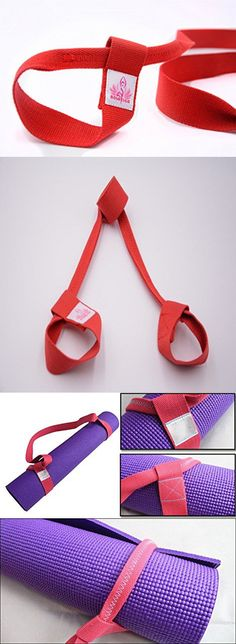 Solstice Adjustable Sling Strap for Yoga Mat, Made of Durable Cotton (Red)
