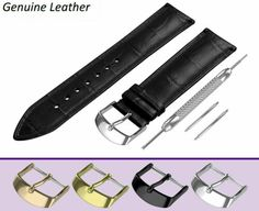 STRAP FOR ROLEX WATCHES. BLACK crocodile leather pattern strap made of high quality genuine calf leather in classic padded design. Armani Black, Armani Watches, Boss Black, Leather Pattern, Seiko Watches, Breitling, Calf Leather, Fossil, Rolex
