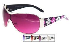 Buy Here: http://replicadesignersunglasseslady.com/pink-plaid-fashion-sunglasses-3535ff/  This pair of plaid fashion sunglasses is one of our top sellers! Comes in Pink & Black, Purple and Black, Brown & Black, Purple & White, or White & White.