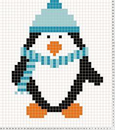 Pingouin - Adorable Penguin chart for cross stitch, needlepoint, knitting or crochet Cross Stitch Cards, Cross Stitch Animals, Cross Stitching, Cross Stitch Embroidery, Embroidery Patterns, Knitting Charts, Baby Knitting, Pull Bebe, Tapestry Crochet
