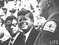 Agriculture Secy, Orville L. Freeman (L), with Pres. John F. Kennedy (C) at dedication of Inst. for Conservation Studies. Location:Ashland, WI, US Date taken:September 1963♡♡♡♡♡♡♡♡  http://en.wikipedia.org/wiki/John_F._Kennedy