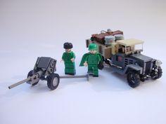"GAZ-MM 1 ton ""Polutorka"" m. 1943 with anti-tank Lego Soldiers, Lego Ww2, Lego Army, Lego Military, Military Diorama, Military Vehicles, Johnson House, Lego Guns, Lego Truck"
