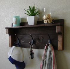 Rustic Entryway Dark Walnut 3 Hook Coat Hat Rack with Shelf - Handmade
