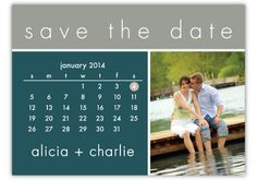 Create a unique Save the Date card with your photo and a monthly calendar. Your names are featured at the bottom, while your wedding date highlighted in gray. www.yourinvitationplace.com/shelleybelley