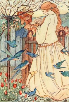 'He stood up like a royal man and claimed her for his bride' illustration by Florence Harrison (1877–1955) for 'PoemsR...