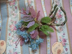 Nostalgia at the Stone House  Beautiful beaded French flower...Can't believe I sold this!!- What was I thinking?!