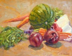 "Food Still Life Kitchen Art Original Oil Painting ""Watermelon Carrots and Onions"" by KimStenbergFineArt, $250.00"