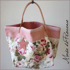 sac cabas en tissu fleurs et cuir 1
