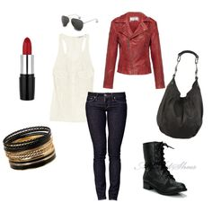 leather... i want the boots and the jacket.