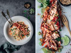 Dieses Rezept für Lachs aus dem Ofen mit scharfer Sriracha Marinade ist eines der besten Rezepte in letzter Zeit. Es ist schneller fertig, als eine Folge Grace & Frankie (Serientipp!) mit minim…