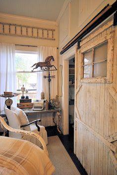 Barn doors for closet doors <3 plus notice the horse weathervane in the corner