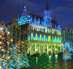 Brussels. The light show in the Grand Place at Christmas is amazing and all coordinated with music. They have a pretty good Christmas market too and of course plenty of chocolate :)