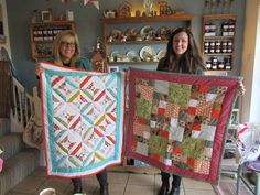 Jenny & Sue with their quilts Small Groups, Workshop, Students, Colours, Quilts, Blanket, Sewing, Crochet, Scrappy Quilts