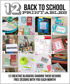 12 FREE back to school printables! Including quick and easy teacher gifts, lunchbox jokes, organizing printables, photo props, and even a whole back to school dinner party set! School Tool, School Teacher, School Fun, School Days, School Stuff, School Gifts, School Lunches, Last Day Of School, Beginning Of School