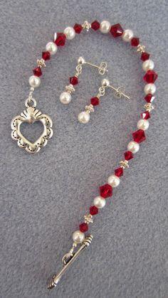 Red Valentine Swarovski Bracelet & Earrings
