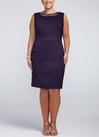 Classic and elegant are just two words to describe this sensational Mother of the Bride ensemble!   Sleeveless bodice features eye-catching and glamorous beaded neckline detail.  Ultra-flattering tiered skirt creates a slimming silhouette and adds dimension.   Fully lined. Back zip. Imported polyester/spandex blend. Hand wash.