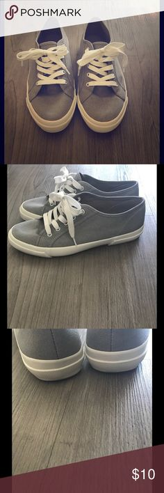 Grey Canvas Sneakers Super cute, classic canvas sneakers with white laces and white rubber sole. In perfect condition! Shoes Sneakers