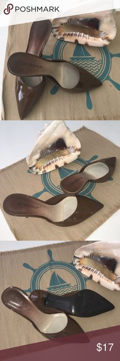 BCBGirls Brown Patent Slip On Heels size 8.5B Excellent Condition. No markings on outer. Soles and heels show very little sign of wear. BCBGirls Shoes Mules & Clogs