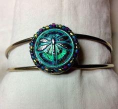 Czech Glass Dragonfly Cuff bracelet.  www.buttondesigncompany.com