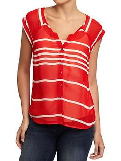 Not Dress Code - See through and a spaghetti strap.  Two wrongs don't make a right.  Women's Split-Neck Button-Front Blouses   Old Navy