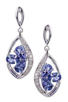 White Diamond & Tanzanite Marquise Dangle Earrings on HauteLook