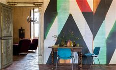 """Elitis Sunbeams Mid Century geometric multicolored striped mural panoramic wallpaper.  Sold by 3 panels of 39"""" width X 118"""" height roll"""
