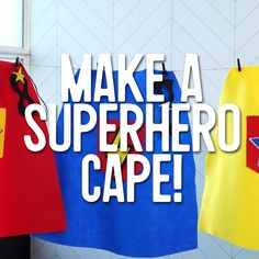 Birthday Decorations Discover How to Make a Superhero Cape for Kids: This easy no-sew cape is simple fun and perfect for a kids costume! Check out our video tutorial for the full how-to plus more superhero birthday party ideas. Diy Superhero Costume, Superman Party, Superman Cape, Cape Diy, No Sew Cape, Avengers Birthday, Superhero Birthday Party, Boy Birthday