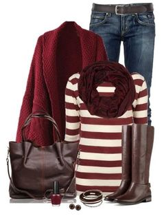 wine sweater.  pants & belt.  boots.  scarf.