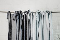 Linen curtains/ linen drapes in graphite or ice blue/silver grey