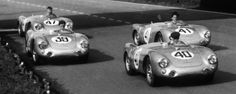 Publicity photo just before the 1954 event. #41 finished 12th/1st in 1.5L class. #47 finished 14th/1st in 1.1L class. The others didn't make it.