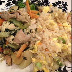 Sesame chicken and pork fried cauliflower rice.