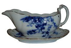 """Antique Flow Blue Gravy Boat- 9""""L x 5""""W x 4.5""""H"""