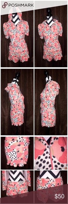 •🌸• Limited Edition Dotty Floral Print Set •🌸• •🌸• EUC Limited Edition Dotty Floral Print set designed by Juicy Couture. Juicy' signature soft Terry with a beautiful coral, cream, && black design. Shorts have really cute ruffles on the side. BOTH Jacket && Shorts Size MED. This set is very rare && hard to find •🌸• Juicy Couture Shorts