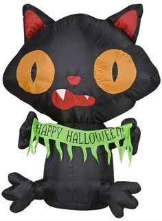 """Black Cat with """"Happy Halloween Sign"""" Airblown 4 Ft Tall Inflatable by Pumpkin Hollow. $47.95. Made from Weather resistant Material. Made For indoor and outdoor use. Self-inflates in seconds. Everything is Included for an Easy Setup. Lights up for Nighttime Use. This spooky Airblown Inflatable featuring a classic Halloween character is sure to put you and your neighbors in the Halloween spirit! Airblown inflatables make a wonderful addition to your outdoor Halloween d..."""