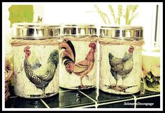 This is a little tutorial 'how to decoupage the metal containers with paper napkin.