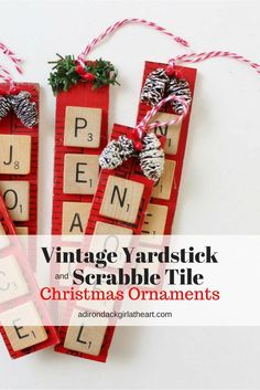 vintage yardstick and scrabble tile christmas ornament adirondackgirlath. vintage yardstick and scrabble tile christmas ornament adirondackgirlath… Christmas Crafts For Kids To Make, Christmas Diy, Christmas Mantles, White Christmas, Christmas 2017, Christmas Stuff, Christmas Projects, Holiday Crafts, Holiday Ideas