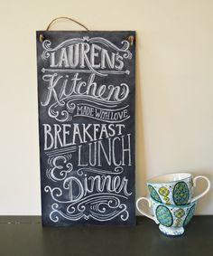 Custom Kitchen Chalkboard Sign - Typography Art via Etsy.
