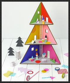 [New Paper Craft] Papercraft for Kids – Christmas Tree Doll House Free Template Download on PaperCraftSquare
