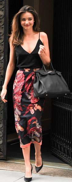 Simple elegant dark red print on black midi skirt and black halter singlet. #elegant #midi #black