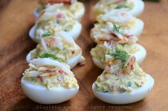 Crab deviled eggs – Laylita's Recipes Egg Recipes, Cooking Recipes, Comida Picnic, Chicken Salad Recipes, Deviled Eggs, Canapes, Tapas, Catering, Food And Drink